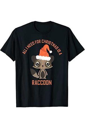 Animal Xmas Chrismas Humor Raccoon Santa Hat Gift Hombre Pijamas - Lindo mapache camiseta animal de Navidad Coon pijama presente Camiseta