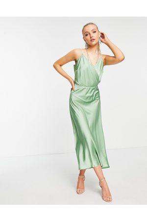 Liquorish Mujer Midi - Vestido lencero midi verde de satén de