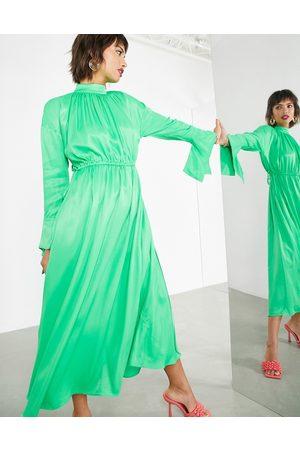 ASOS Mujer De noche - Vestido largo extragrande con detalle de cordón ajustable de