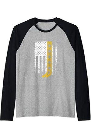 SHIRTSIDE Hockey Hockey Bandera Patriótica Campo Hockey Entrenador Camiseta Manga Raglan