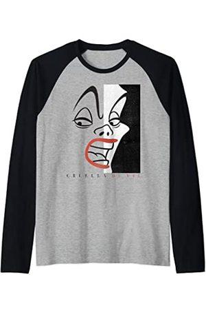 Disney Cruella Devil Head Shot Line Art Camiseta Manga Raglan