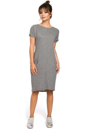 BE Vestidos B050 Vestido midi con bolsillos en la costura - gris para mujer