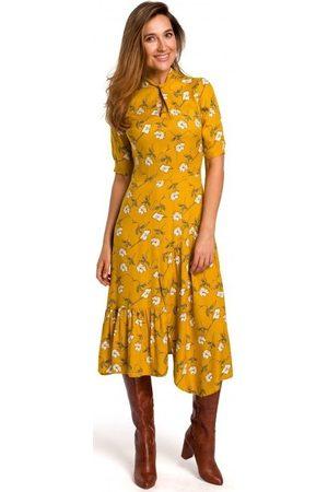 Style Vestido largo S177 Vestido midi con estampado floral - modelo 1 para mujer