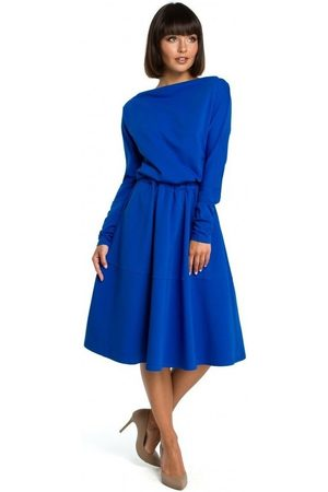 BE Vestido B087 Vestido midi ajustado y acampanado - azul real para mujer