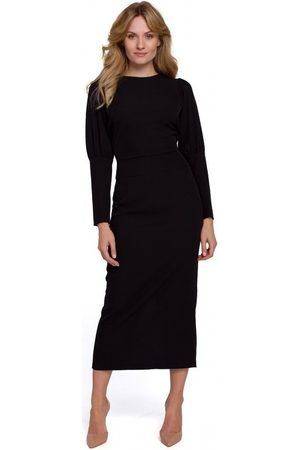 Makover Vestido largo K079 Vestido de largo midi con espalda dividida - negro para mujer