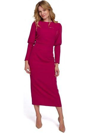 Makover Vestido largo K079 Vestido de largo midi con espalda dividida - ciruela para mujer