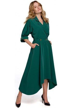 Makover Vestido largo K086 Vestido largo midi con botones decorativos - verde para mujer