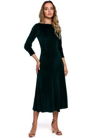 MOE Vestido largo M557 Vestido midi de terciopelo con mangas fruncidas - verde para mujer