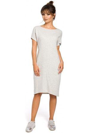 BE Vestidos B050 Vestido midi con bolsillos en la costura - gris claro para mujer