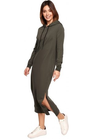 BE Vestido largo B197 Vestido Midi Con Capucha - mocca para mujer