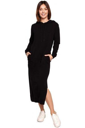 BE Vestido largo B197 Vestido midi con capucha - crema para mujer