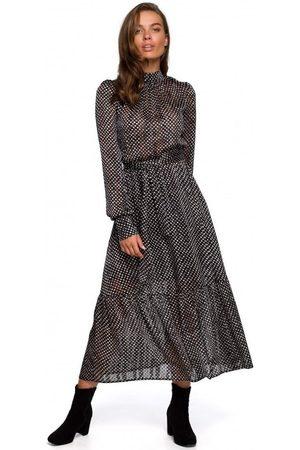 Style Vestido largo S238 Sukienka midi szyfonowa w groszki - modelo 2 para mujer