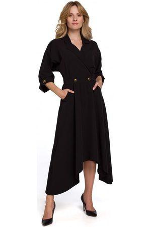 Makover Vestido largo K086 Vestido largo midi con botones decorativos - negro para mujer