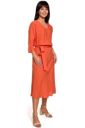 BE Vestido largo B149 Vestido midi con cinturón - naranja para mujer