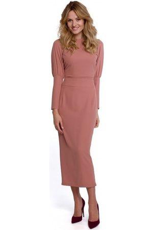 Makover Vestido largo K079 Vestido de largo midi con espalda dividida - rosa para mujer