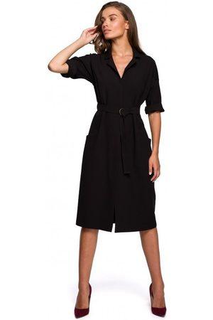 Style Vestido largo S230 Vestido camisero midi con bolsillos de parche - negro para mujer