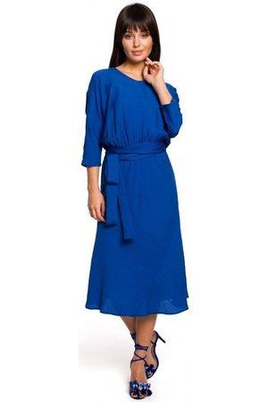 BE Vestidos B149 Vestido midi con cinturón - azul real para mujer