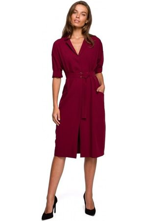 Style Vestido S230 Vestido camisero midi con bolsillos de parche - granate para mujer