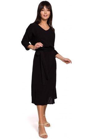 BE Vestido B149 Vestido midi con cinturón - negro para mujer