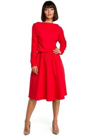 BE Vestido B087 Vestido midi ajustado y acampanado - rojo para mujer