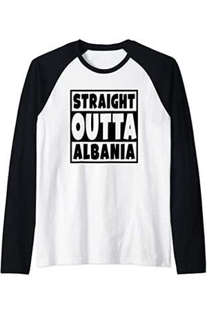 Straight Out Of Albania Albanian Family Roots Straight Outta Albania - Albania familia raíces país orgullo Camiseta Manga Raglan