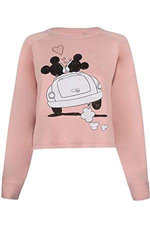 Disney Mickey and Minnie Mouse Hearts Cropped Crew Sudadera Recortada