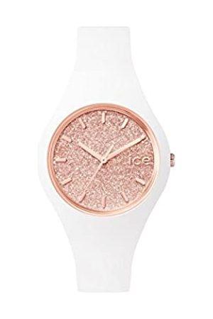 Ice-Watch ICE Glitter White Rose-Gold - Reloj Blanco para Mujer con Correa de Silicona
