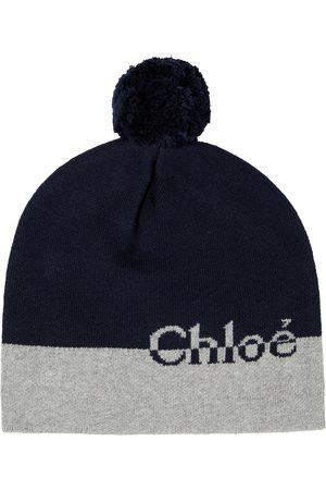 Chloé Gorro de algodón y lana con logo