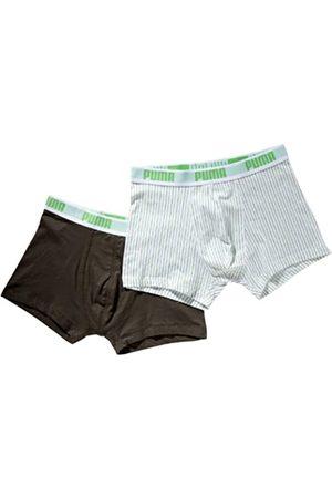 PUMA Pin Stripe-Calzoncillos para Hombre 2 Pares Multicolor Multicolore - Kaki/Bianco Talla:Medium