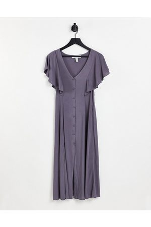 Liquorish Mujer Casual - Vestido midi gris de manga corta de