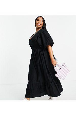 ASOS Vestido largo con cuerpo fruncido de popelina de algodón de ASOS DESIGN Curve