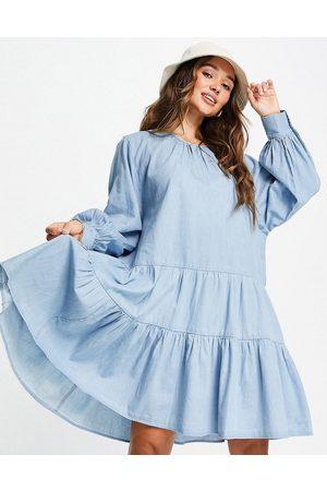SELECTED Mujer Vaqueros - Vestido vaquero azul amplio y escalonado Gilli de