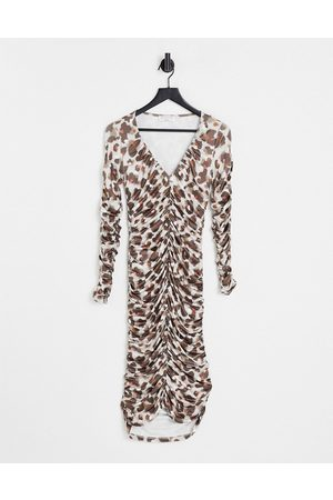 EI8TH HOUR Mujer De noche - Vestido midi fruncido con estampado animal y escote pronunciado de -Multicolor