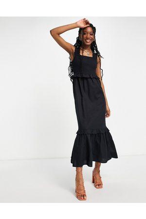 Lipsy London Mujer Midi - Vestido midi negro con tirantes fruncidos y volantes de