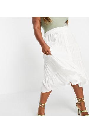 Forever New Falda midi blanca escalonada de popelina de algodón de