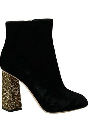 Dolce & Gabbana Velvet Crystal Square Shoes , Mujer, Talla: 39