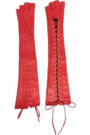 Manokhi Mujer Guantes - Fingerless lace-up leather gloves