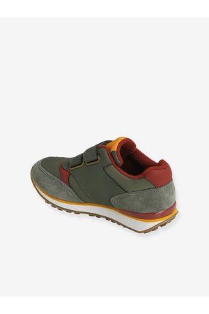Vertbaudet Zapatillas con tiras autoadherentes estilo running, para niño oscuro liso con motivos