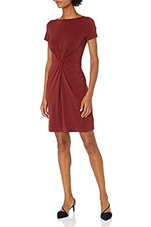 Lark & Ro Marca Amazon – – Vestido retorcido en el centro de punto crepé de manga corta para mujer