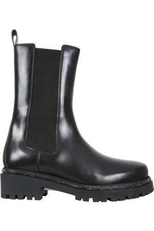 René Caovilla Leather Biker Boots , Mujer, Talla: 37 1/2