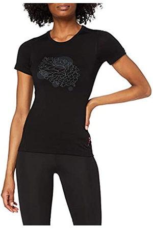 Odlo BL Top Crew Neck s/s Alliance Camiseta, Mujer, Black-Pine Cone Print FW18