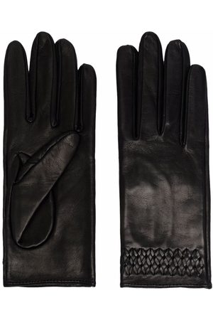 Manokhi Embroidered-detail leather gloves