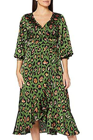 Liquorish Animal Wrap Midaxi Dress with Ballony 3/4 Length Sleeves Vestido