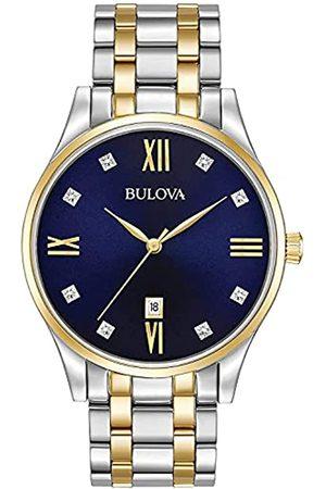 BULOVA Reloj analógico para Hombres de Cuarzo con Correa en Acero Inoxidable 98D130