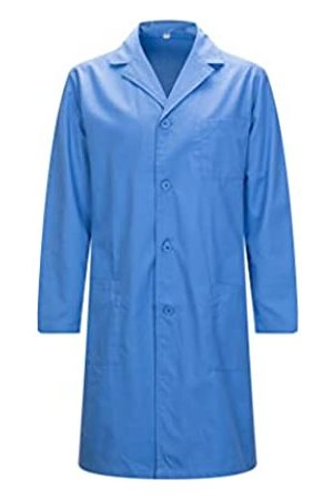 MISEMIYA Bata Laboratorios Caballero Cuello Solapa con Manga Larga Uniforme Laboral CLINICA Hospital Limpieza Ref:816 - XS