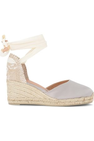 Castañer Carina wedge sandal in gray and dove gray canvas and jute , Mujer, Talla: 40