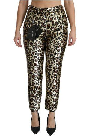 Dolce & Gabbana Leopard Sequined High Waist Pants , Mujer, Talla: 38 IT