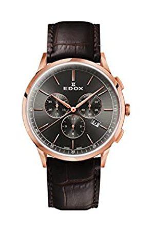 Edox Reloj Cronógrafo para Hombre de Cuarzo con Correa en Cuero 10236-37RC-GIR