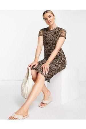 River Island Mujer Casual - Vestido midi fruncido con estampado de leopardo de
