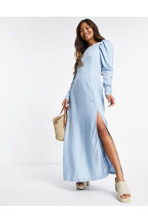 ASOS Mujer Largos - Vestido vaquero largo con lavado claro, espalda al aire y acabado suave de